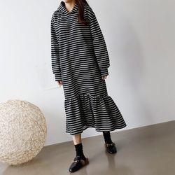 Gimo Hoodie Stripe Long Dress