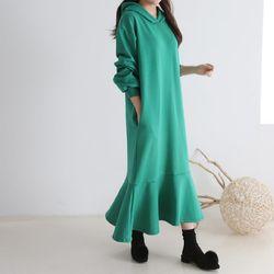 Gimo Hoodie Frill Long Dress