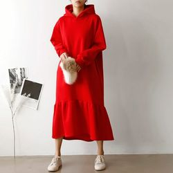 Gimo Hoodie Unbal Long Dress