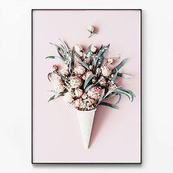 메탈 식물 인테리어 포스터 액자 아이스크림 꽃 [대형]