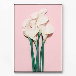 메탈 식물 꽃 인테리어 포스터 액자 백합 [대형]