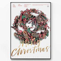 메탈 인테리어 트리 포스터 액자 크리스마스 리스 [대형]