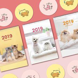 2019 강아지 고양이 탁상용캘린더 3종+손거울 2종 몽땅