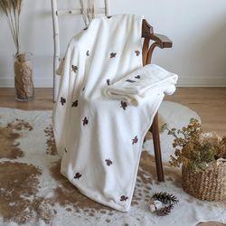 [무료배송] 극세사 자수 담요 푸들 100x175cm