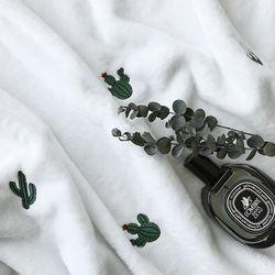 [무료배송] 극세사 자수 담요 선인장 85x100cm
