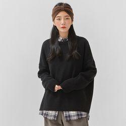round neck wool raglan knit