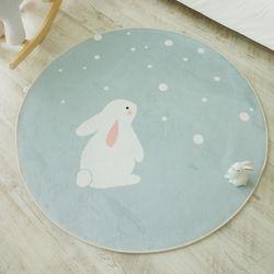 민트땡땡이 토끼 원형러그