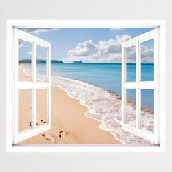 cv266-하늘과바다모래사장창문그림액자(중형)