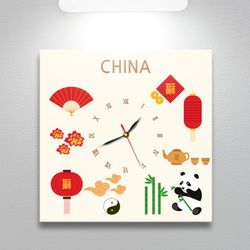 ct275-중국의아이콘노프레임벽시계