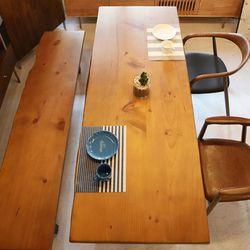 라센 브라운 우드슬랩 6인용 원목 식탁 1800 (의자벤치별도)