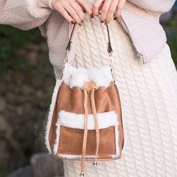 미니 무스탕 토트 숄더 백팩 가방