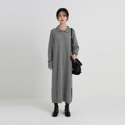 collar long wool one-piece (3colors)