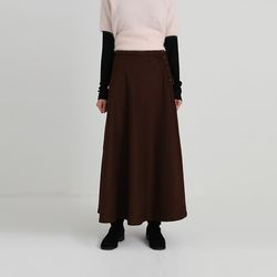 side button flare wool maxi skirt (2colors)