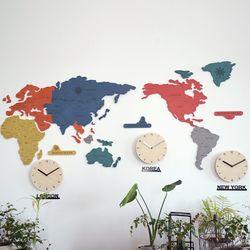 실크로드 칼라 세계지도 벽시계(소)