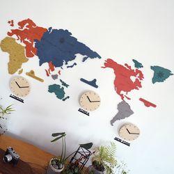 실크로드 칼라 세계지도 벽시계(중)