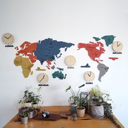 실크로드 칼라 세계지도 벽시계(대)