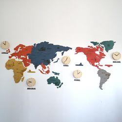 실크로드 칼라 세계지도 벽시계(특대)