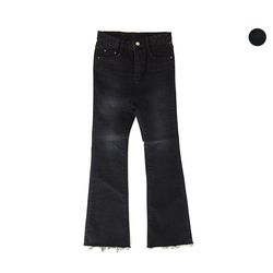 VINTAGE BLACK NAPPING BOOT-CUT JEANS여성용
