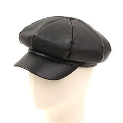 Leather Black Newsboy Cap 가죽뉴스보이캡