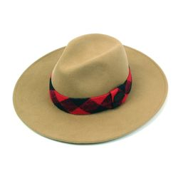 Red Check Line Wool Beige Fedora 울페도라
