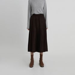 suede pleats banding skirt (2colors)