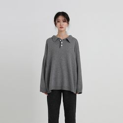 casual collar loose knit (4colors)