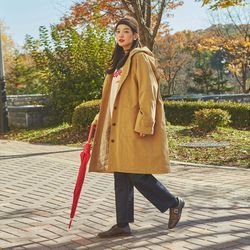 quilt hood long coat