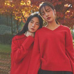sturdy wool v-neck knit