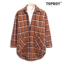 [탑보이] 스퀘어 체크 오버핏 셔츠 코트 (RW316)