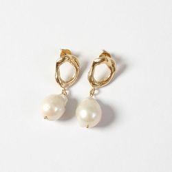 Round Pearl Drop Earrings