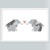 신혼부부를 위한 커플 코끼리 인테리어포스터 (A4)