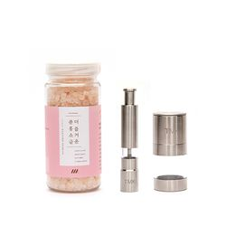 더 즐거운 분홍소금 그라인더 세트 (병+핸디형+테이블형)