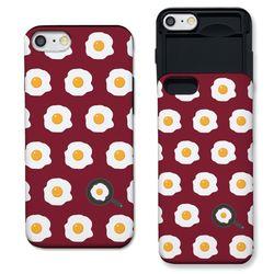 [갤럭시] 계란후라이 패턴 딥레드 슬라이더 케이스