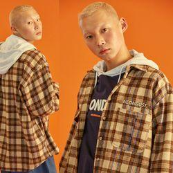 NEONDUST. 18W Check Shirt (Brown)