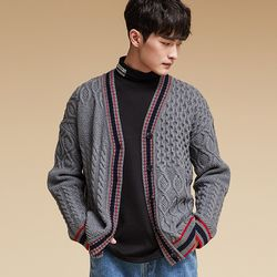 PATTERN MIX CARDIGAN GRAY