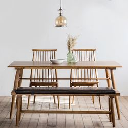 렌토 원목 테이블 1600 세트(의자2+벤치)