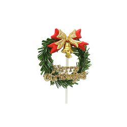 크리스마스케익장식 이중리본원형리스 50개묶음