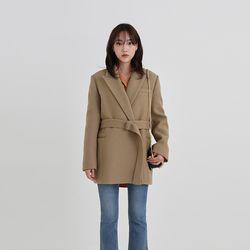 wool half belt jacket (4colors)