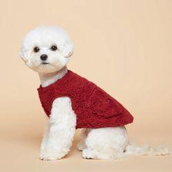 강아지옷 플러피후리스 조끼 -버건디