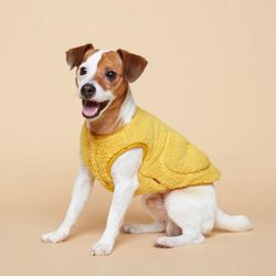 강아지옷 플러피후리스 조끼 -옐로우