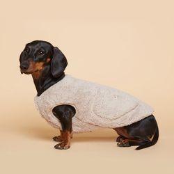 강아지옷 플러피후리스 조끼 -베이지