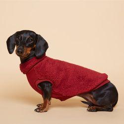 강아지옷 플러피후리스 목폴라 -버건디