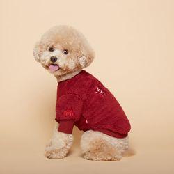 강아지옷 플러피후리스 맨투맨 -버건디