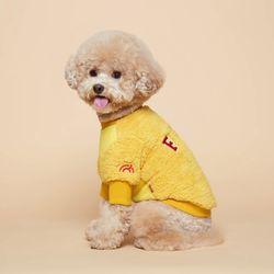 강아지옷 플러피후리스 맨투맨 -옐로우