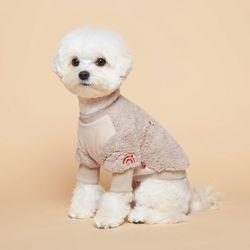 강아지옷 플러피후리스 맨투맨 -베이지