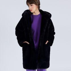 WOMENs KIMBERLEY ECO MINK CASUAL COAT (NAVY)