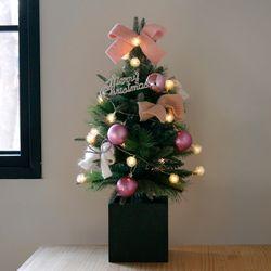 크리스마스 박스트리 SET-핑크 (60cm)+눈꽃전구(건전지용)