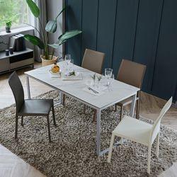 루나 화이트 이태리 세라믹 4인용 식탁 세트 1200