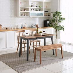 이스테지아 원목 오블리크 4인 식탁 세트 벤치형 A