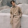 DOUBLE WOOL LONG COAT OATMEAL (MEN)